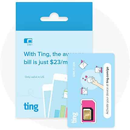 Ting GSM SIM card - Average monthly bill is $23. No contract, Universal SIM, Nationwide coverage, Only pay for what you use.