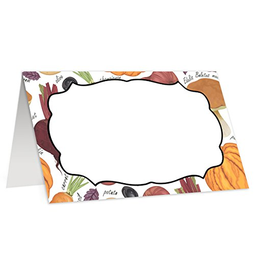 (Fall Place Cards (50 Pack) Pumpkin Halloween Thanksgiving Autumn Escort Cards Formal Vintage Family Corporate Event Wedding Rehearsal Dinner Table Tent Food Guest Name Tag 3.5 x 2