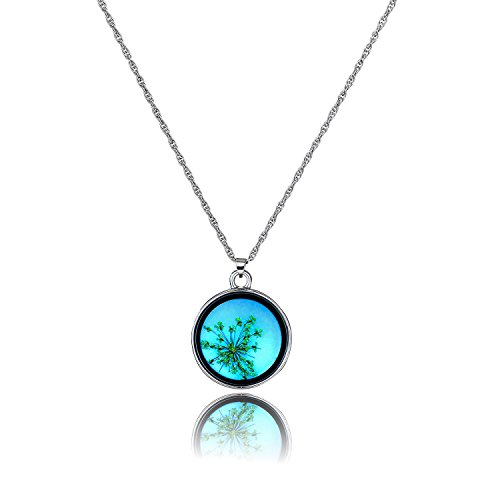 Pendant Resin Flower - Glowing Flower Pendant Necklace Fairy Glow in The Dark Pressed Real Flower Necklace Birthday Christmas for Friend Sisters Women Girls Children 18