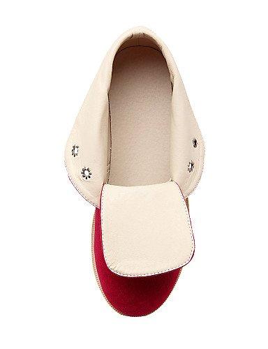 Vellón Zapatos Eu41 Negro Black Moda Botas Xzz Casual 10 5 8 Redonda us9 Plataforma Uk7 A Punta 10 5 Marrón Brown Rojo Mujer De us9 Cn42 La 5 HwwdSPq