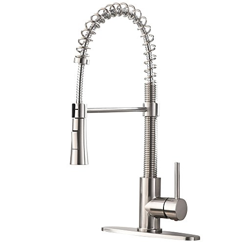 VAPSINT Best Modern Commercial Lead-Free Pull Down Sprayer Brushed Nickel Kitchen Faucets, Single Handle Pull Out Kitchen Sink Faucet (With Deck Plate) by VAPSINT