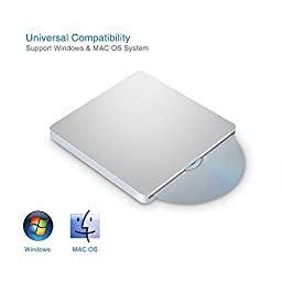 MthsTec USB 2.0 External Super Slim Slot-In and Touch-Eject DVD Reader Drive CD Burner COMBO Player for Apple Mac, Mac Air, Mac Pro and Other Laptops/Desktops, Windows 10 Compatible, Silve