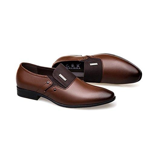 Hommes Brun Mocassin Souple Respirent Pointu Bout Chaussures Derby Loisir Enflier Non Feidaeu Commercial Souliers Jointif Cuir Business Classitique Lacet U5xYyd