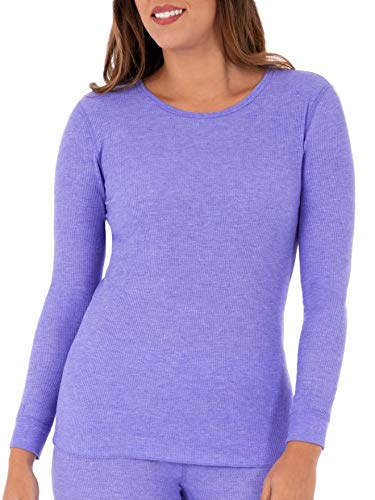 Fruit of the Loom Women's SoftWaffleThermalCrew Neck Shirt, Purple Heather, Medium