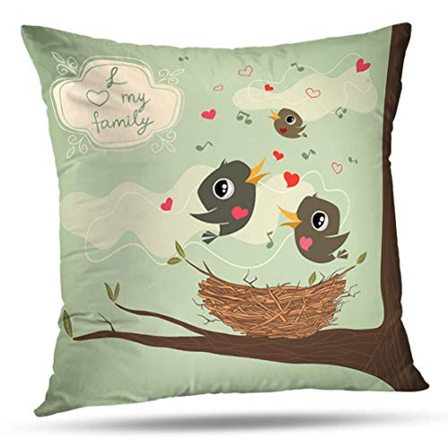 Geericy Decorative Throw Pillow Covers Family Birds Nest with Hearts and Decorative Frame Nest Baby Love Song House Cushion Cover 18X18 Inch for Bedroom Sofa ()