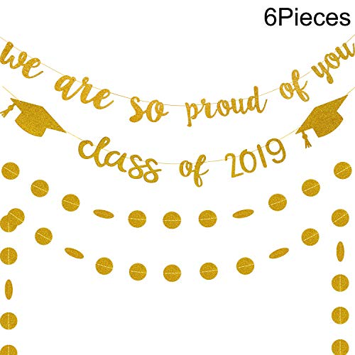 Chuangdi 6 Pieces Gold Glitter Banners Gold Grad Banners Custom Graduation Banners for Graduation Party Decoration Party Supplies (Style 1, 6 Pieces)