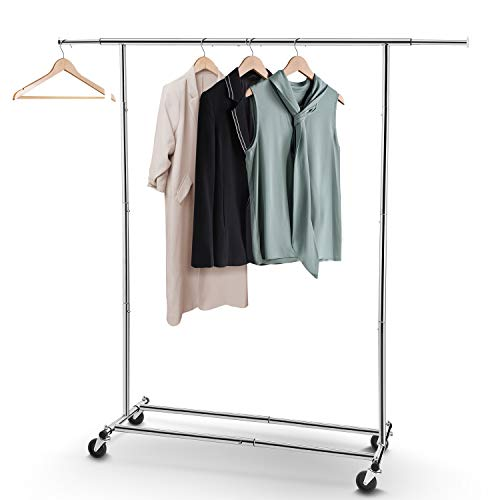 Simple Trending Clothes Garment Rack, Heavy Duty Commercial Grade Clothing Rolling Rack on Wheels with Expandable Collapsible Clothing Rack, Holds up to 150 lbs, -