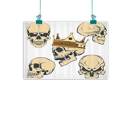 WinfreyDecor Skull Decor Modern Frameless Painting Skulls Different Expressions Evil Face Crowned Death Monster Halloween Bedroom Bedside Painting 35