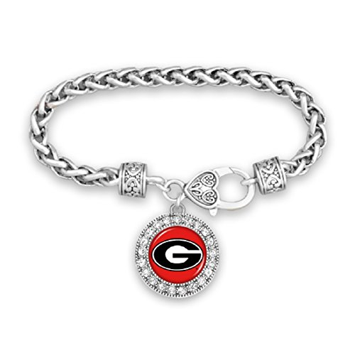 Georgia Bulldogs Clasp Bracelet with Round Team Logo and Embellished with Crystals Bulldogs Round Crystal