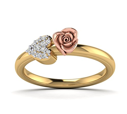 Vintage Diamond Flower Ring - Fehu Jewel 1/10ct Natural Designer Diamond ring in 10K White Rose and yellow Gold Rose And Heart Shape For Women