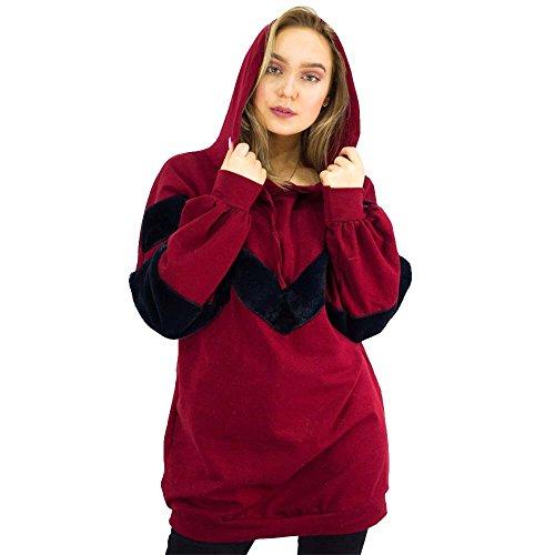 mujer JAVOX para Fashion's Hood Red Chaqueta xBZRwUP
