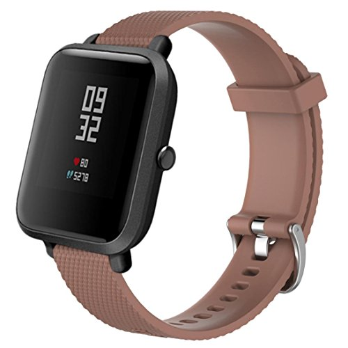 Price comparison product image Boofab for Xiaomi Amazfit bands, 20mm Soft Silicone Sport Replacement Strap Band for Xiaomi Huami Amazfit Bip Younth smart watch (Brown)