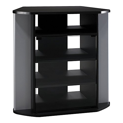 - Bush Furniture Visions Tall Corner TV Stand in Black and Metallic