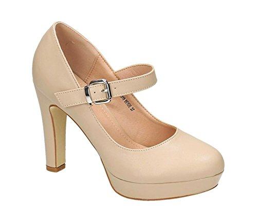 King Of Shoes Klassische Trendige Damen Mary Jane Riemchen Pumps Stilettos Party High Heels Plateau Schuhe Bequem 19 Beige