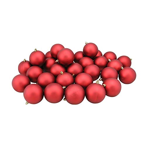 Northlight 32 Count Matte Hot Shatterproof Christmas Ball Ornaments, 3.25 (80mm), Red