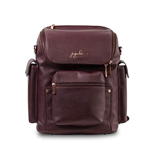 JuJuBe Forever Backpack Multi-Functional Vegan Leather Diaper Bag, Ever Collection - Plum (The Best Backpack Ever)