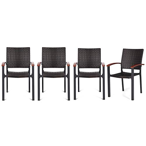AK Energy Set of 4 Stacking Wicker Rattan Patio Dining Chairs Wood Armrest Outdoor Deck Furniture Armchair