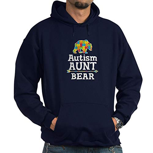 CafePress Autism Aunt Bear Pullover Hoodie, Classic & Comfortable Hooded Sweatshirt Navy