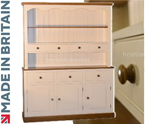 100% Solid Wood Spice Drawer Dresser, 5ft Wide Handcrafted & Cream Painted Contrasting Welsh Dresser. No flat packs, No assembly (5WDSP)