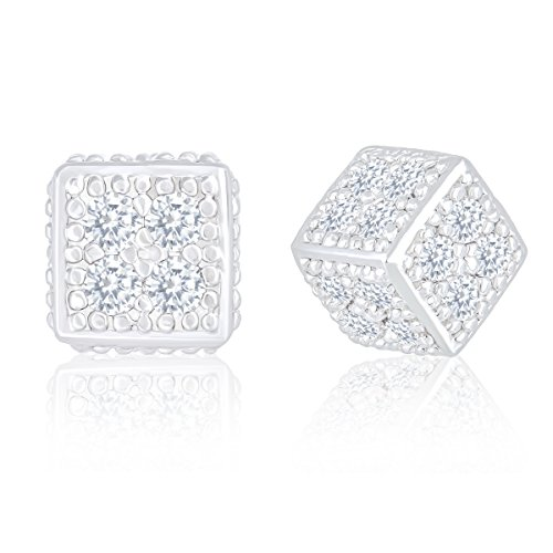 18k White Gold Plated Cubic Zirconia Ice Cube Dice Shape Unisex Stud Earrings by Orrous & Co.