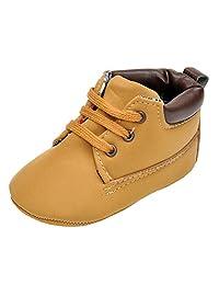 hibote Newborn Baby Soft Leather Sneaker Toddler Prewalker Shoes