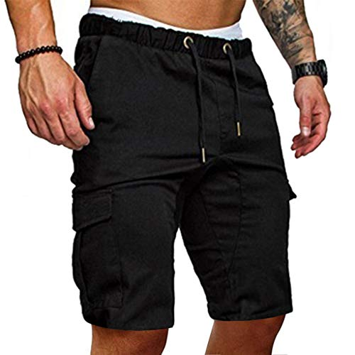 - MODOQO Men's Shorts, Casual Slim Fit Solid Sports Gym Fitness Pants with Pocket(Black,CN-2XL/US-L)