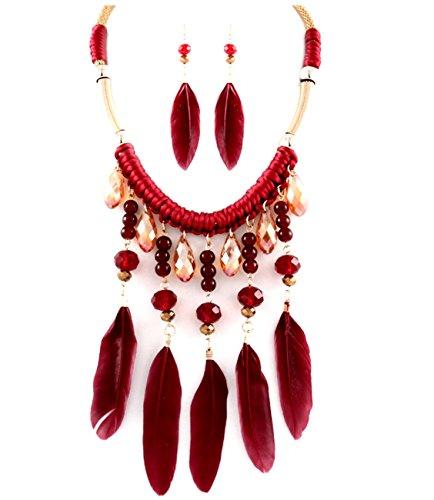 ETHNO Native Boho Hippie Luxe Kit Bijoux Chaîne Miel plumes longues boucles d'oreilles perles de cristal Bourgogne Rouge