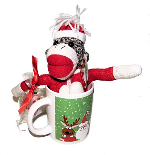 Plush Stuffed Christmas Sock Monkey in Santa Suit in a Holiday Mug Gift Set -