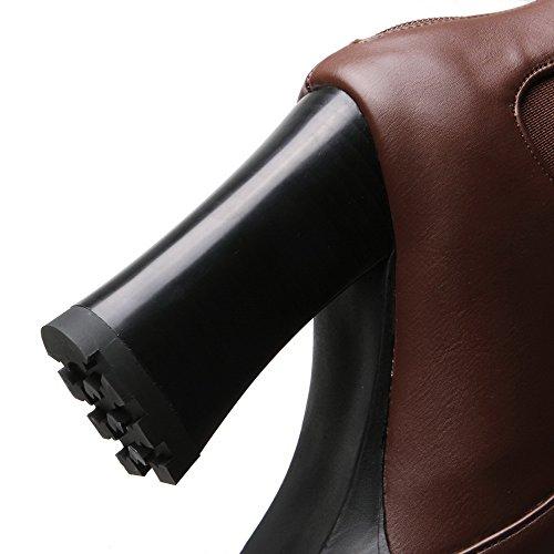 Amoonyfashion Chaussures Bout Rond À Bout Fermé Orteil Bottes Avec Semelle Antidérapante Et Plateforme Marron