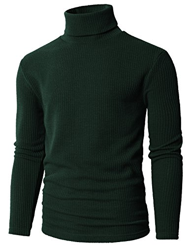 H2H Mens Fleece Lined Sweatshirt Zip Turtleneck Slim Cut Knit Sweater Khaki US M/Asia L (KMOSWL0231)