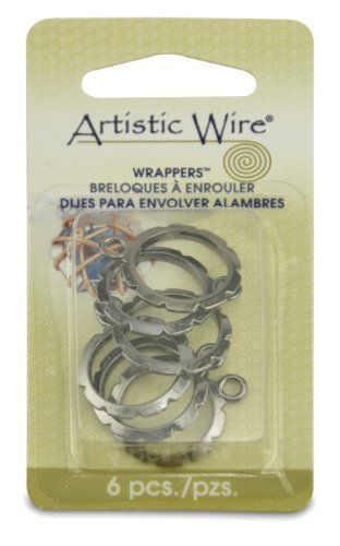 Artistic Wire,  Wrapper 20-Millimeter Round Findings, Nickel Free Hematite, 6 Piece