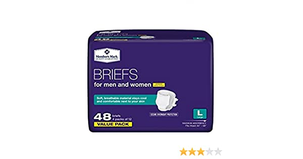Amazon.com: Members Mark Size Large 4-Packs of 12 (48 Total) Briefs For Men & Women: Health & Personal Care