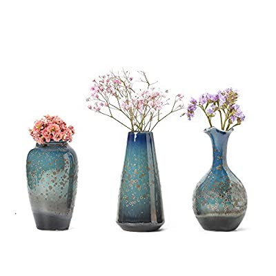 CHP Ceramic Flower Vase Set of 3, Special Design Style of Flambed Glazed,Decorative Modern Floral Vase for Home Decor Living Room Centerpieces and Events