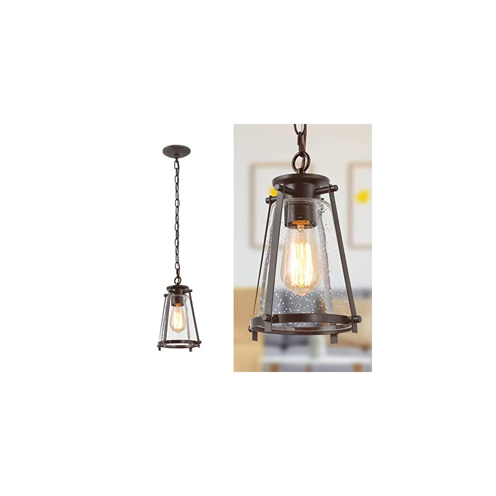 """KSANA Bronze Pendant Lighting for Kitchen Island, Rustic Industrial Pendant Light with Seeded Glass Shade, 7.5""""W"""