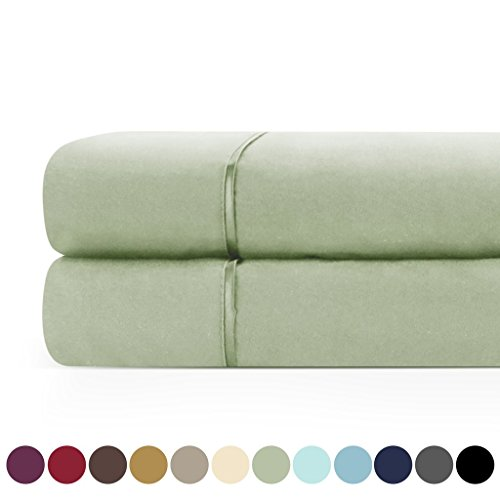 Zen Home Luxury Flat Sheet (2-Pack) - 1500 Series Luxury Brushed Microfiber w/ Bamboo Blend Treatment - Eco-friendly, Hypoallergenic and Wrinkle Resistant  - Cal King - Olive