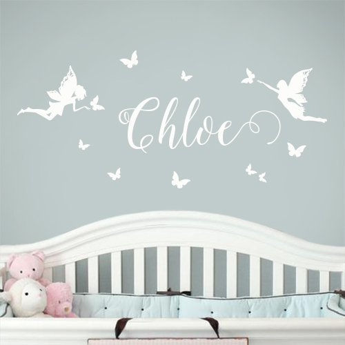 Name Wall Sticker Wall Decal Nursery Fairies Butterflies Personalized Name Wall Decal Removable Nursery Wall Decals Stickers From Surface Inspired 1057