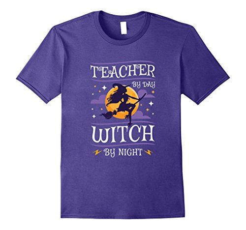 Mens Halloween Teachers T-Shirt - Teacher By Day Witch By Night 3XL (Halloween Teacher Gift Sayings)