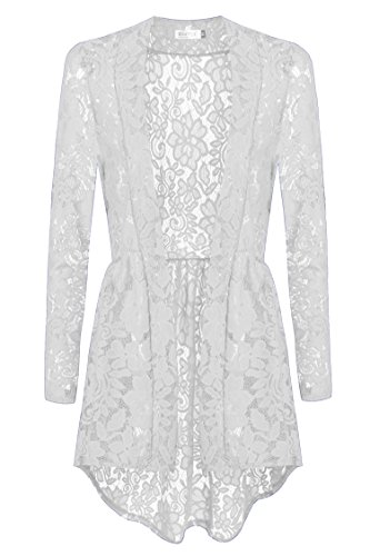 Meaneor Women Long Sleeve Sheer Lace Crochet Open Front Cardigan Tops, White, XL