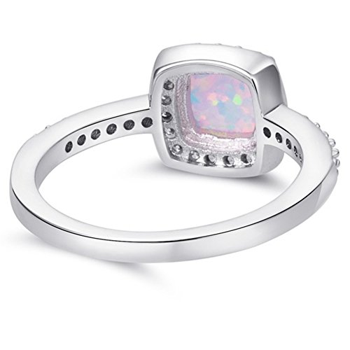 Engagement Rings Kuwait: Princess Cut Created Fire Opal Engagement Ring (Silver, 8