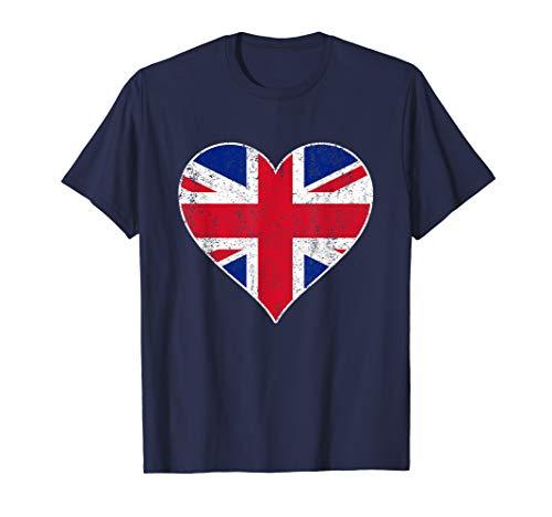 (Union Jack Flag Heart England British United Kingdom T Shirt)