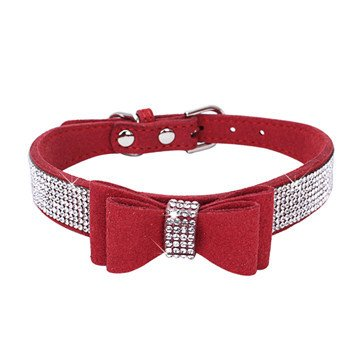BONAWEN Crystal Dog Collar with Bow Tie Rhinestone Puppy Collars Bling for Small Dogs Boy Girl(Red,XS)