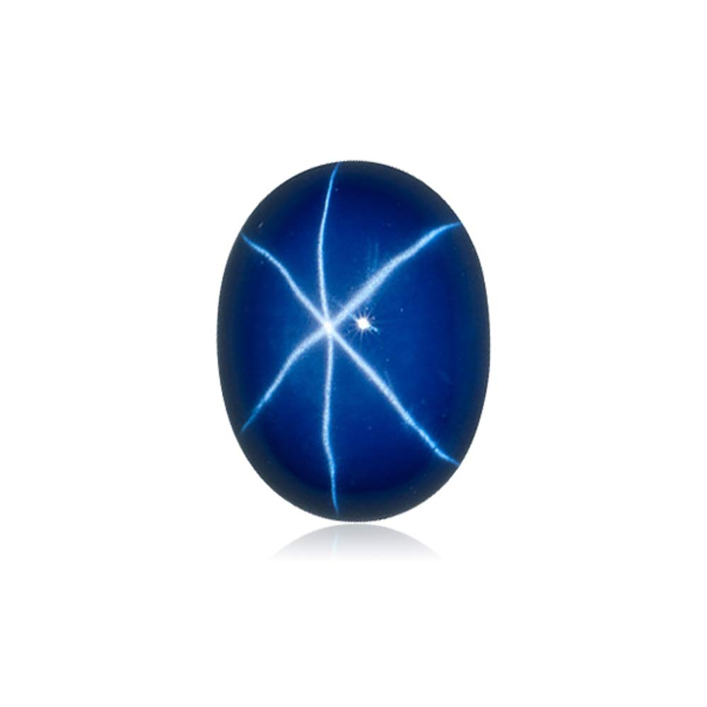 Mysticdrop 5.50-6.95 Cts of 12x10 mm AAA Oval Cut German Lab Created Star Sapphire Cabochon (1 pc) Loose Gemstone
