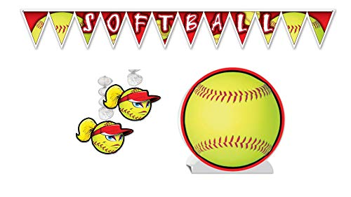Softball Party Décor Bundle | Includes Centerpiece, Pennant Banner, and Danglers ()