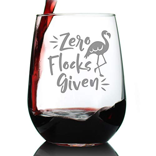 Zero Flocks Given – Cute Funny Flamingo Stemless Wine Glass, Large 17 Ounce, Etched Sayings, Gift Box ()
