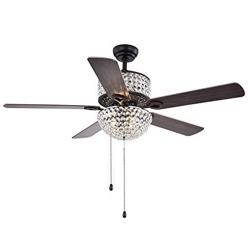 Tropicalfan 52'' Crystal Ceiling Fan With Lights and Remote Control 5 Wood Blades For Living Room Bedroom Decoration Brown,Tropicalfan