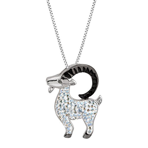 Crystaluxe Longhorn Goat Pendant Necklace with Swarovski Crystals in Sterling Silver & Black Rhodium Plate