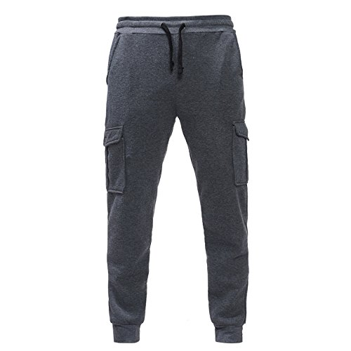 - Benficial New Men's Sport Jogging Fitness Pant Casual Loose Sweatpants Drawstring Pant with 4 Pocket Dark Gray