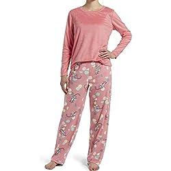 HUE - Conjunto de Pijama y Playera de Manga Larga de Forro Polar para Mujer, 2 Piezas, Pink Lemonade - Kitty Ball, XL