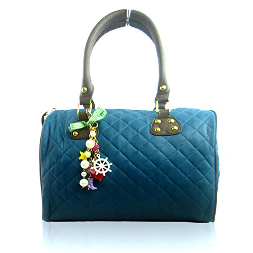Faux with Women Bag top Shaped Leather Handbag Boutique Designer London Medium Charm Xardi Quilted Handle Ladies Barrel Blue zZCqgWw