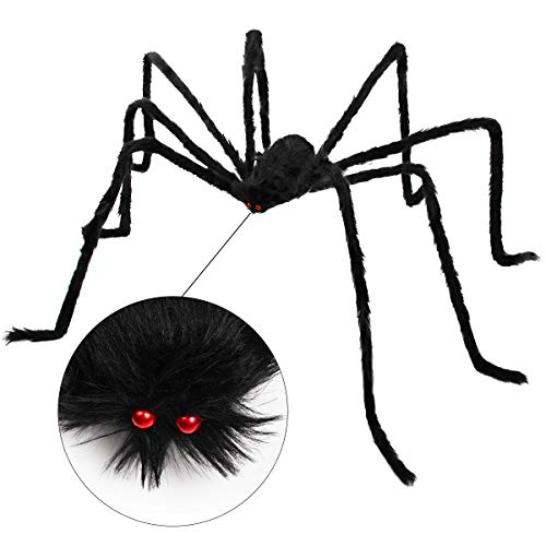 Giant Halloween Spider, Dreampark 4.9 Feet Fake Large Hairy Spider Props Halloween Outdoor Decor Yard Decorations -